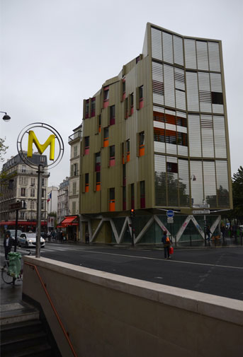 Metro and contemporary building, Paris.