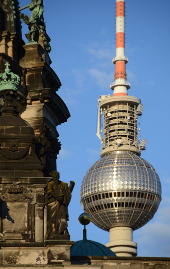 Berliner Dom and Fernsehturm (television tower), 1969, Berlin.